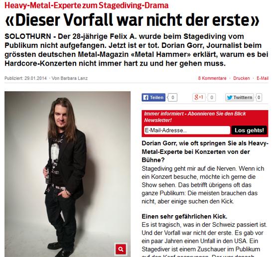 "BLICK - ""Heavy-Metal-Experte zum Stagediving-Drama"""